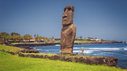 Moai statue at the harbor on Hanga Roa, Easter Island, Chile