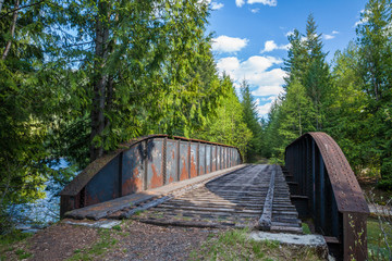 Old abandoned train trestle bridge in British Columbia, Canada