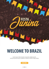 Festa Junina background with hand draw doodle elements and party flags. Brazil or Latin American holiday. Vector illustration