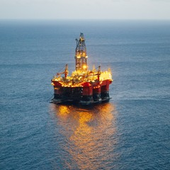 offshore oil and gas platform with illumination