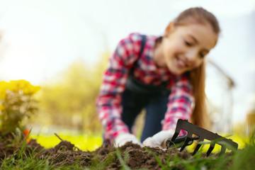Gardening tool. Selective focus of a rake lying in the grass in the garden Selective focus of a rake