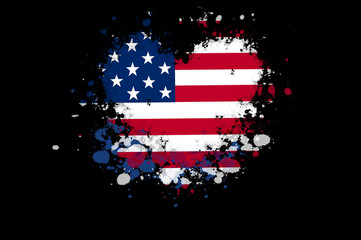 USA flag in a shape of a heart with paint splatters on black background. Patriotism concept.
