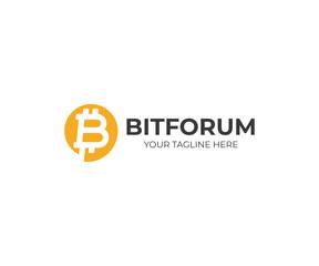 Bitcoin chat logo template. Bitcoin sign and speech bubble vector design. Bitcoin business logotype