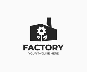 Flower factory logo template. Flower farm vector design. Factory building silhouette and flower plant logotype