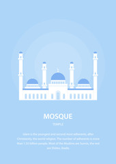 Mosque. Muslim architecture. Religious buildings. Culture of the East. Vector illustration