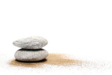 Sea stone and pile sand isolated on white background