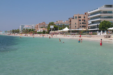 Playa den Bossa beach. Ibiza, Spain