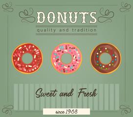 Fotobehang Vintage Poster Donuts poster