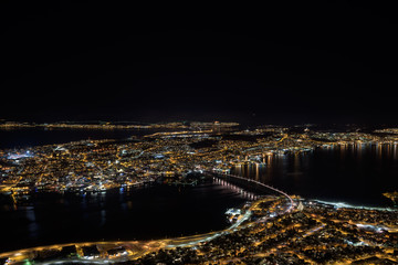 Nice view from the hills surrounding Tromsø by night, Tromsø, Norway