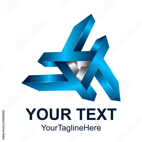 2e91491c4 Creative abstract initial letter T vector logo design template element.  Colored silver blue 3D concept icon