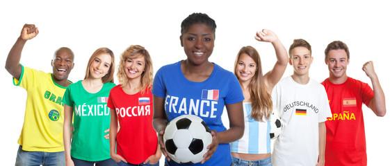 Französischer Fussball Fan mit anderen Fans