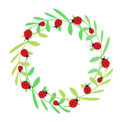 Summer card. Vector funny wreath. Decorative frame. Ladybugs and leaves.