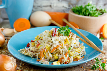 Pad Thai noodles with fried eggs