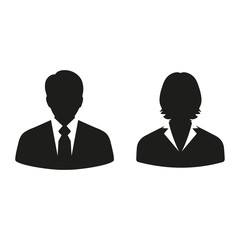 businessmen man and woman on a white background
