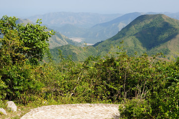 The view on the leading path to Citadelle la ferriere fort near Cap Haitien, Haiti.