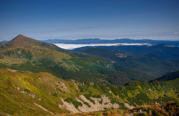 Beautiful mountains and blue sky in the Carpathians. Ukraine.