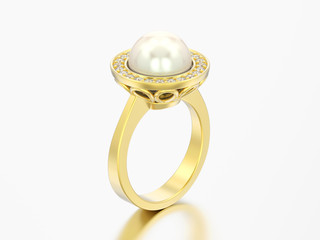 3D illustration gold diamond engagement wedding ring with pearl