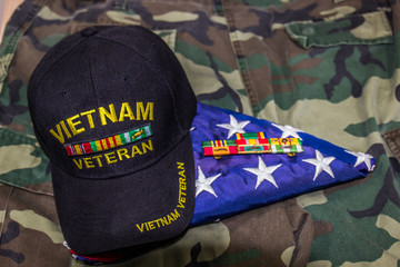 Vietnam Veteran Cap, Ribbons & American Flag On Camouflage Uniform