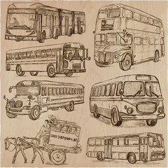 BUSES - An hand drawn vector collection. Freehand sketching.