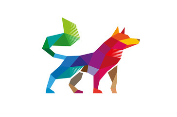 Polygonal wolf logo design illustration