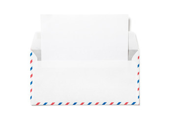 Open envelope with a sheet of white paper. Blank airmail envelope  with  empty template letter isolated. Back view