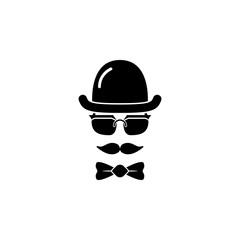 Hat glasses mustache bow tie flat hipster vintage design with long shadows vector illustration