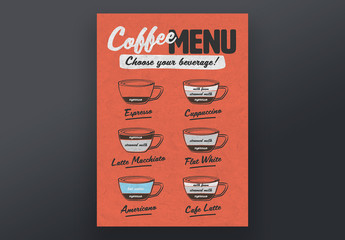Café Poster Layout with Espresso Drink Illustrations