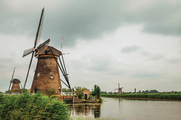 Windmills and bushes on the bank of a large canal in a cloudy day at Kinderdijk. Situated in a polder, has the largest concentration of old windmills in the country. Southern Netherlands.