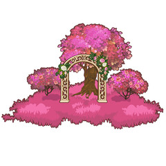 Ornate archway in the pink forest. Vector illustration.