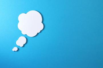 cloud text bubble on blue background