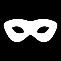 Simple, white mask silhouette illustration. Isolated on black
