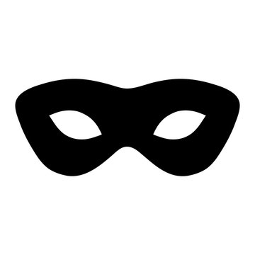 Simple, black mask silhouette illustration. Isolated on white