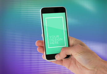 Hand Holding Smartphone Mockup with Bright Neon Background