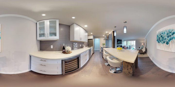 3d illustration spherical 360 degrees, a seamless panorama of kitchen