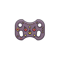 Gaming steering wheel flat color line icon on isolated background. Game controller for race applications - vector sign or symbol in thin linear design.