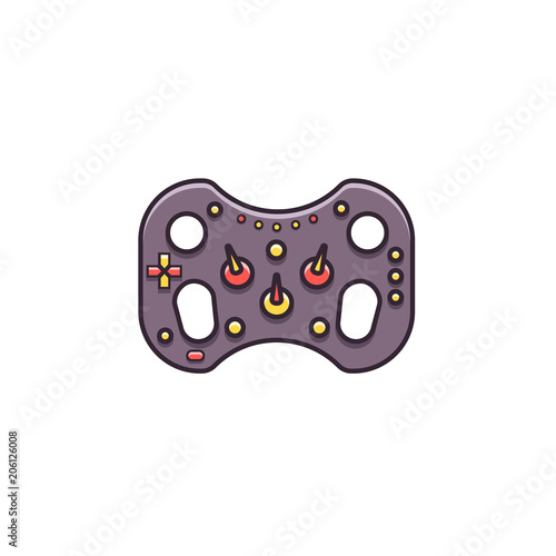Gaming Steering Wheel Flat Color Line Icon On Isolated Background