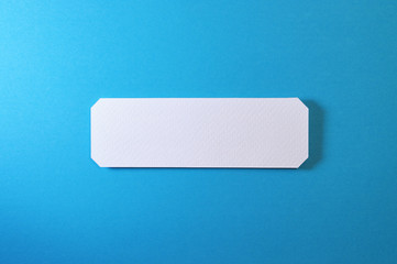 rectangle banner with straight corners on blue background