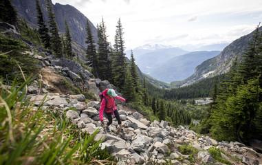 Woman hiking in Garibaldi Provincial Park, British Columbia, Canada
