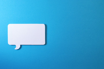 rectangle text bubble on blue background