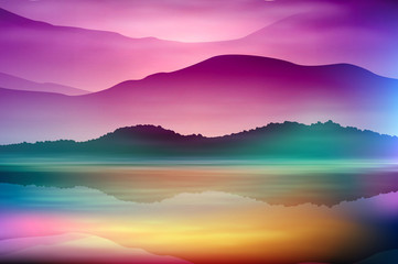 Colorful background with sea and mountain. Sunset time. EPS10 vector.