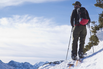 Back country skier in San Juan Mountains, Ophir, Colorado, USA