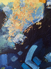 Autumn abstract painting art with natural acrylic textures on the canvas.