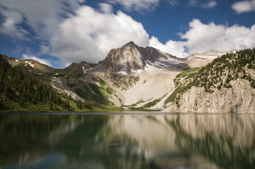 Snowmass Lake and Snowmass Mountain in Aspen, Colorado, USA