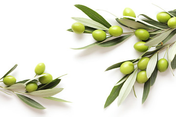 green olives on white background. frame background with copy space