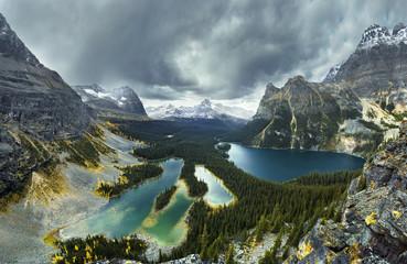 View of Lake O Hara and mountains, Yoho National Park, Field, British Columbia, Canada