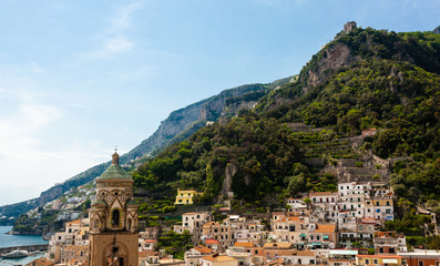 View of the City Center with Bell Tower of the Cathedral of Amalfi, Italy