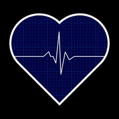 Blue heart shape with cardiogram inside