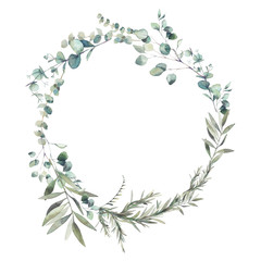 Watercolor greenery combination. Eucalyptus branches and olive tree leaves wreath. Hand painted floral clip art: round frame isolated on white background.