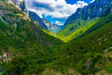 Vikos Gorge in Epirus, Greece. The deepest canyon of the world (1100 meters)