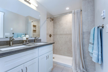 Elegant grey and white bathroom design